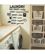 """Laundry Room Wash Dry Fold Iron Vinyl Wall Quote Sticker Decal 24""""w x 22""""h - $24.99"""