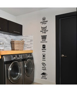 """Wash Dry Fold Iron Laundry Room Vinyl Wall Quote Sticker Decal 72""""h x 11""""w - $49.99"""