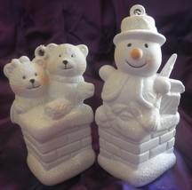 2 vintage avon winter frolic christmas ornament bears snowman unused spa... - $16.25