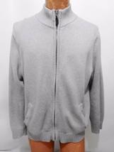 LL Bean Light Gray Cotton Zip-Front Cardigan Sweater Mens M Reg - $45.72