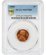 1950 1c PCGS MS67 RD - Gorgeous Gem - Lincoln Cent - Gorgeous Gem - $1,134.90