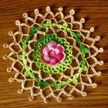Red Rose Garden Motif - Irish Crochet Flower Ar... - $8.00