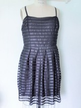 NEW H&M POLYESTER BLACK MESH RIBBON STRIPED FIT FLARE COCKTAIL DRESS L T... - $39.95