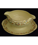 Vintage Circa 1930-1940s Gravy Boat w/ Attached Under-plate Hand Painted... - $19.50