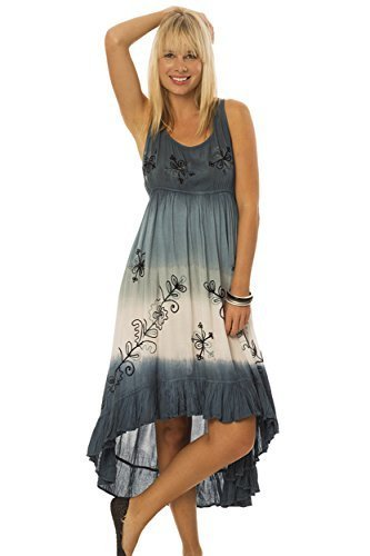 Women's Dress with Contrast Embroidery (Blue, Small) [Apparel]