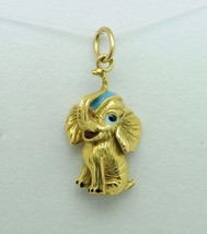 Arts and Crafts (ca. 1950) Dumbo 18K Yellow Gold Enamel Elephant Pendant - $285.00