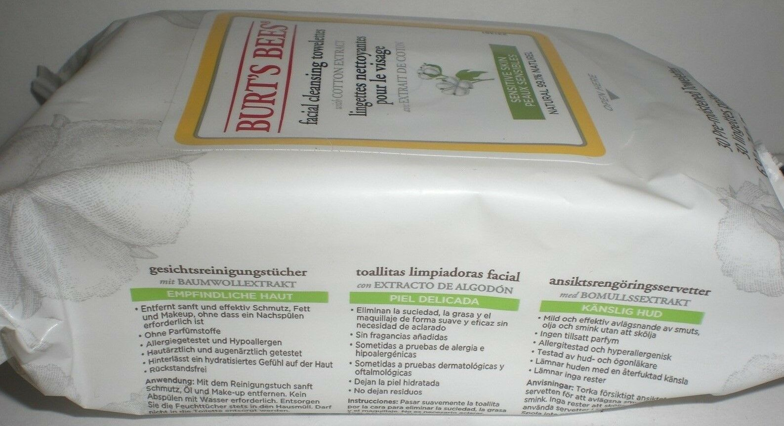 Burt's Bees Face Cleansing Towelettes Wipe Cotton Extract Sensitive Skin 30 x6 image 3