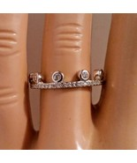 Sterling Silver ring size 5 CZ Round cut Crown Engagement Tiara Wedding ... - $11.54