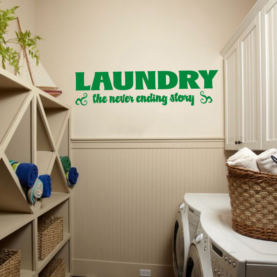 """Laundry Room the Never Ending Story Vinyl Wall Quote Sticker Decal 60""""w x 15.5""""h"""