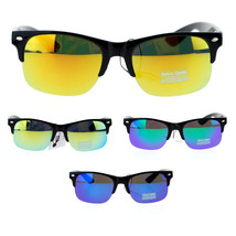 Unisex Half Horn Rim Hipster DJ Sunglasses with Color Mirror Lenses - $9.95
