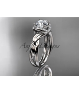 Unique nature inspired bridal ring, 14kt white gold diamond leaf and vin... - $1,125.00
