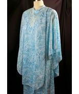 Mid Century Montgomery Ward Maxi Dress Cape Combo Hostess Abstract Blue ... - $58.41