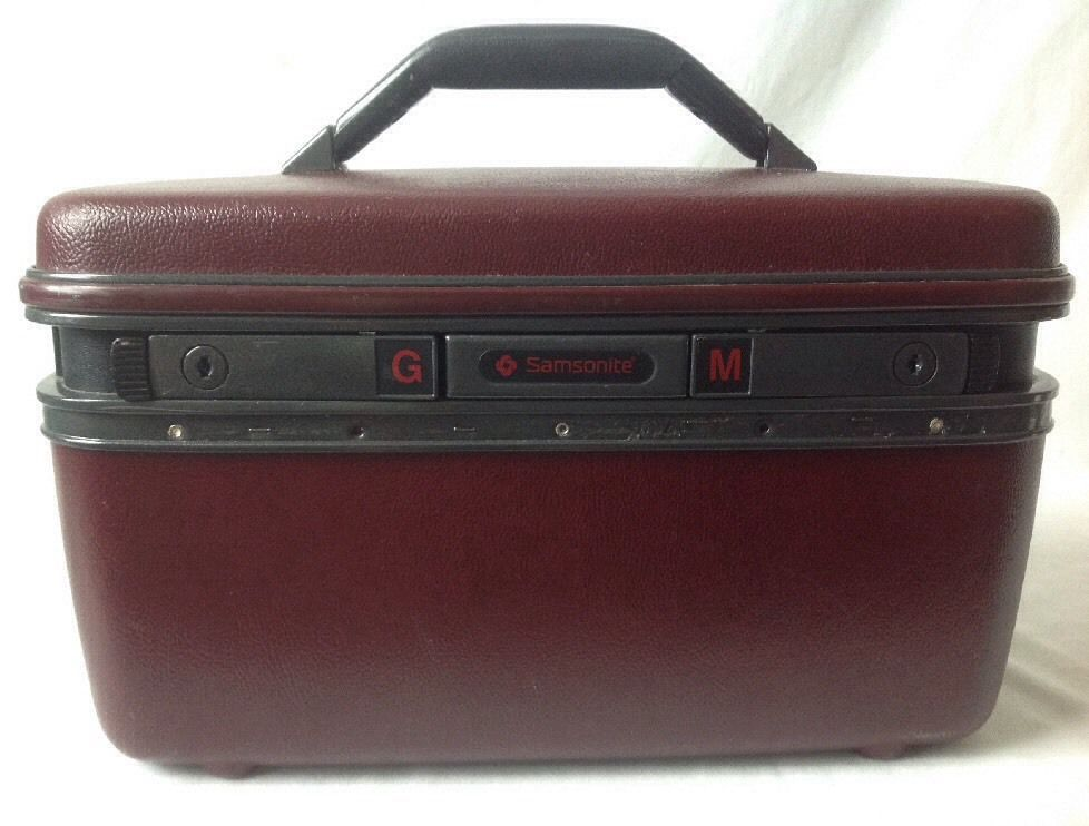 Vintage Samsonite System 4 Train Case Makeup Cosmetic Suitcase w Mirror Burgundy