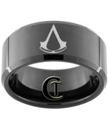 10mm Beveled Black Tungsten Carbide Assassin's ... - $49.00