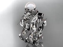 Platinum diamond pearl unique engagement set, wedding set AP151S - $1,925.00