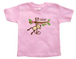 Toddler Girl Monkey BIG Sister T-Shirt, BIG Sister Announcment - $9.95
