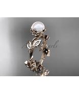 Unique nature inspired bridal ring, 14kt rose gold diamond leaf and vine... - $1,025.00