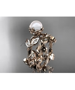 Unique nature inspired bridal ring set, 14kt rose gold diamond leaf and ... - $1,395.00