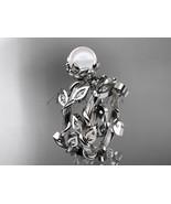 Pearl nature inspired bridal ring set, Platinum diamond leaf and vine, f... - $1,995.00