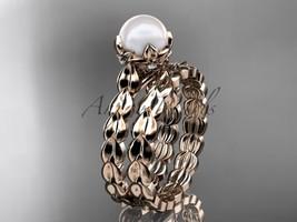 14kt rose gold diamond leaf and vine, pearl wedding set, engagement set AP35S - $1,025.00