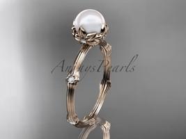 Unique nature inspired engagement ring, 14k rose gold diamond pearl vine... - $795.00