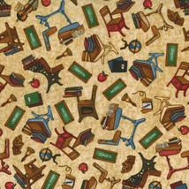 """""""Making The Grade"""" - Dan Morris for RJR Fabrics-Desks, Blackboards.Books... - $4.95"""