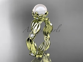 Pearl engagement ring, Unique nature inspired engagement ring, 14k yello... - $825.00