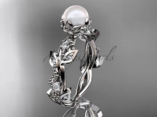 Ap59 white gold  platinum  pearl  diamond wedding band  diamond engagement ring  1
