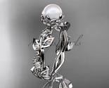 Ap59 white gold  platinum  pearl  diamond wedding band  diamond engagement ring  1 thumb155 crop