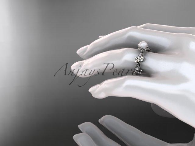Platinum  diamond pearl vine and leaf engagement ring AP59
