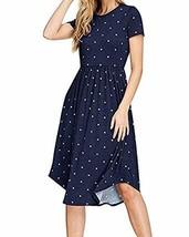 PALINDA Women's Summer Short Sleeve Pleated Polka Dot Swing Midi Dress w... - $19.99