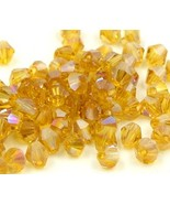100pcs Swarovski crystal 5301 4mm bicone Beads iridescent gold - $6.00