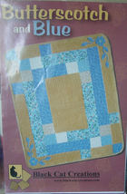 """Quilt Pattern Butterscotch & Blue 54"""" x 66"""" - $4.99"""