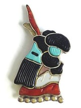 Andrea Lonjose Zuni Sterling Silver Inlay Turquoise Coral Pin Pendant Signed - $175.80