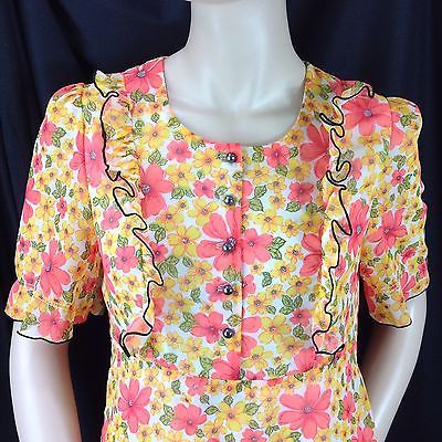 Vtg Groovy Flower Power Ruffle Bodice Maxi Dress Prom Graduation Coral Yellow M