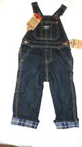 OshKosh B'Gosh Black Denim Overall JonJon Latzhose 9M Jeans plaid cuff NWT - $14.24