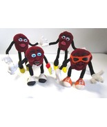 Lot of 4 Vintage California Raisins Plush Bendy Toy Figures - $12.99