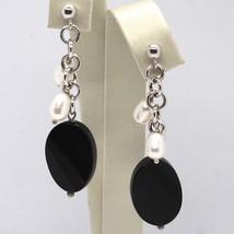 Boucles D'Oreilles Pendantes or Blanc 18K, Rolo, Perles Goutte, Onyx Ovale image 1