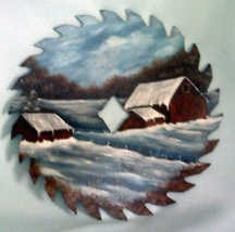 Saw Blade Old Homestead Winter Scene Custom Order - $35.00