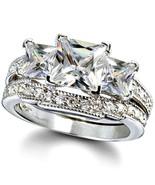 Sterling Silver wedding set size 8 CZ Princess cut Engagement Ring Brida... - $34.98