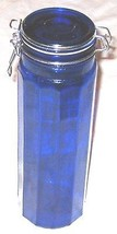 """Glass 13"""" Royal Blue Spegetti Canister w Lid  - $21.19"""