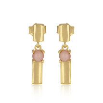 Pink Opal Gemstone 925 Silver Gold Plated Bar Design Drop Earrings Jewelry - $18.43