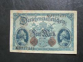 nmu. Germany Darlehenskassenschein Berlin 5 Mark 1914 Ser. A 5177231  7 ... - $20.00