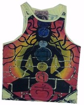 om 1 Men tank Top Sleeveless yellow Cotton Graphic Buddha Chakra Yoga M ... - €11,74 EUR