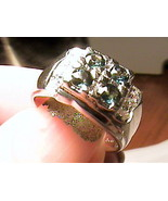 CLUSTER GREEN TETRA sapphire ELEGANT RING 6 silver white GOLD  sterling ... - $51.25