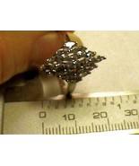 sterling silver 925 white GOLD Ring 10 Natural Tanzanite CLUSTER elegant... - $60.60