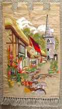 Vintage Cross Stitch French Country Village Scene Fabric Wall Hanging Ha... - $69.95