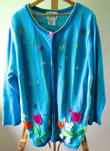 Womens Quacker Factory Blue Beaded Easter Bunny Flower Cardigan Sweater-... - $54.95