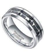 8MM Mens Tungsten Wedding Ring Band; Heart Beat, Forever Love, Sizes 7-14 - $22.95