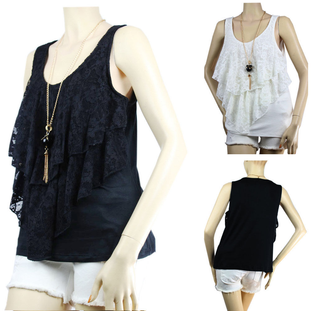 Floral Lace Ruffle Layering TANK TOP w/ Necklace Stretchy Sexy Casual  Top Plus